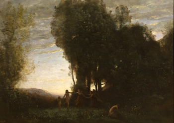 Ronde de Nymphes (Effet du Matin) by Jean-Baptiste-Camille Corot (French, 1796 - 1875)