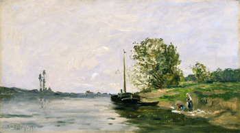 Paysage à la Péniche et aux Lavandières (Landscape with a Barge and Washerwomen) by Hippolyte Camille Delpy (French, 1842 - 1910)