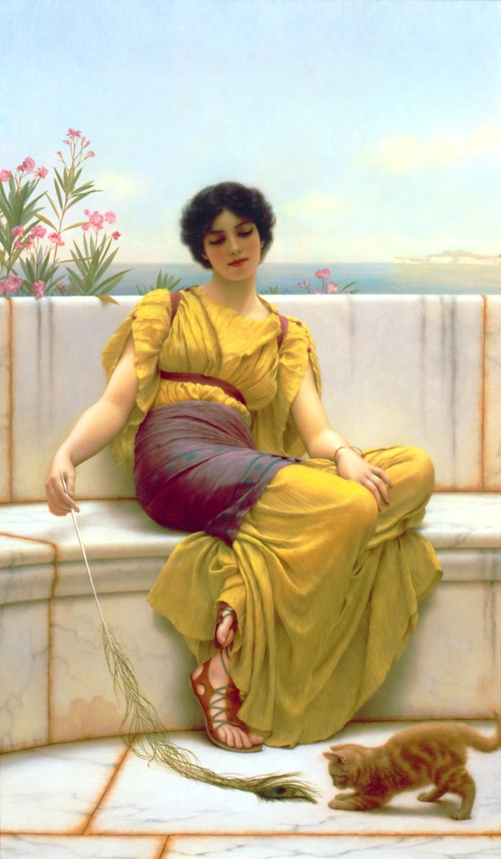 Idleness (Girl with a Kitten), 1900 by John William Godward (British, 1861 - 1922)