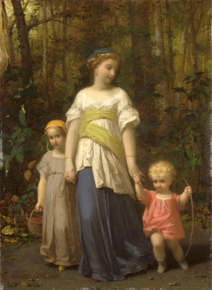 Promenade des Enfants avec le Bonne (A Stroll through the Woods), 1871 by Jean Louis Hamon (French, 1821 - 1874)