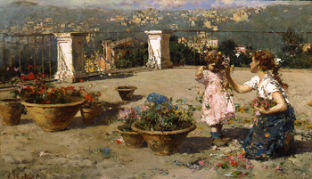 On the Terrace by Vincenzo Irolli (Italian, 1860 - 1949)