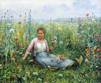Picking Wildflowers by Daniel Ridgway Knight (American, 1839 - 1924)