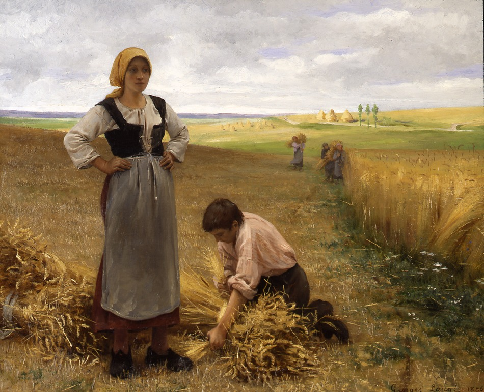 Harvesting the Fields, 1886 by Georges Laugée (French, b. 1853)
