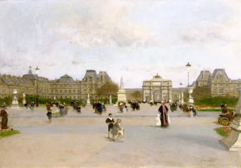 The Louvre from the Jardin des Tuileries, c. 1880 by François-Joseph Luigi Loir (French, 1845 - 1916)