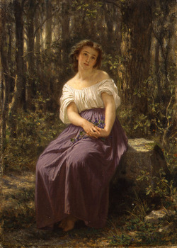 A Girl in the Woods, 1862 by Hugues Merle (French, 1823 - 1881)