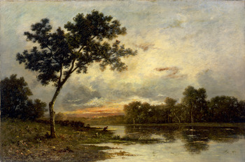 Sunset on the River by Léon Richet (French, 1847 - 1907)