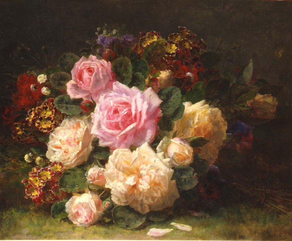 Still Life with Roses by Jean-Baptiste Robie (Belgian, 1821 - 1910)