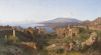 View of Mt. Etna from the Ruins of the Theatre at Taormina, 1883 by Alessandro La Volpe (Italian, 1820 - 1887)