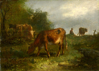 The cattle tender, Fontainebleau by Constant Troyon (French, 1810 - 1865)