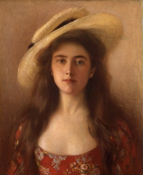 Young Beauty in a Straw Hat by Albert Lynch (Peruvian, 1851 - 1912)