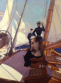 "Women on Deck, ""Ramier"" by Albert Lynch (Peruvian, 1851 - 1912)"