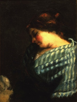 "Study for ""La fileuse endormie"", c. 1853 by Gustave Courbet (French, 1819 - 1877)"