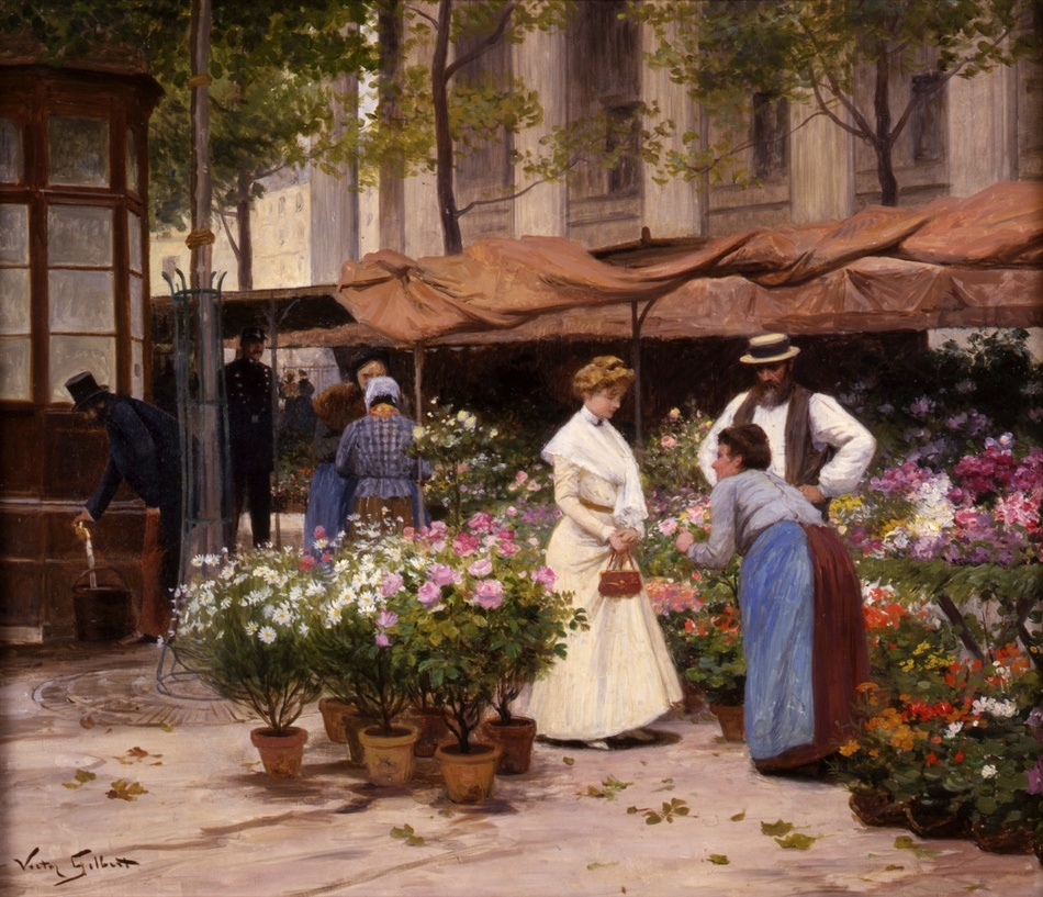 Marché aux Fleurs by Victor Gabriel Gilbert (French, 1847 - 1933)