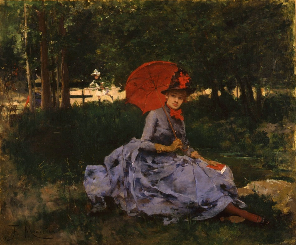 The Red Parasol, c. 1880 by Francisco Miralles y Galup (Spanish, 1848 - 1901)