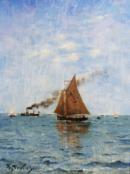 Sailboats and Steamships by Alfred Stevens (Belgian, 1823 - 1906)