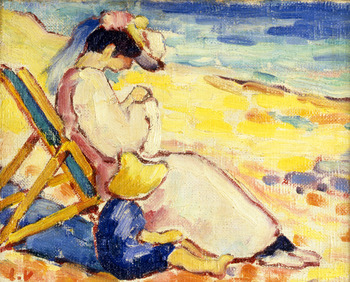 Sur la plage (Madame Valtat and Jean), c. 1912 by Louis Valtat (French, 1869 - 1952)