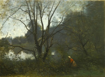 Ville d'Avray, Fourré au bord de l'étang avec une Paysanne a genoux (Ville d'Avray, Thicket at the edge of a pond with a kneeling peasant) , c. 1855-60 by Jean-Baptiste-Camille Corot (French, 1796 - 1875)