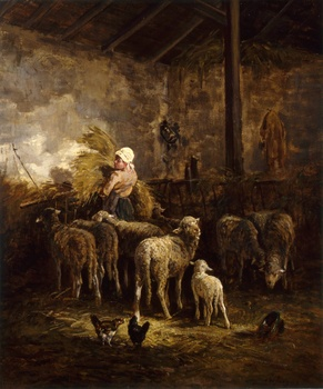 Sheep and Shepherdess in a Sheepfold by Charles Jacque (French, 1813 - 1894)