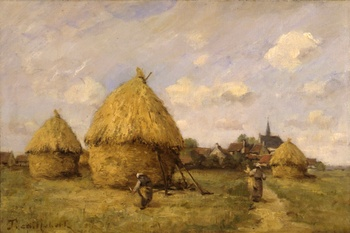 After the Harvest by Paul Désiré Trouillebert (French, 1829 - 1900)