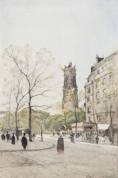 Vue de l'Avenue Victoria, Paris, ca. 1891 by Henri-Joseph Harpignies (French, 1819 - 1916)