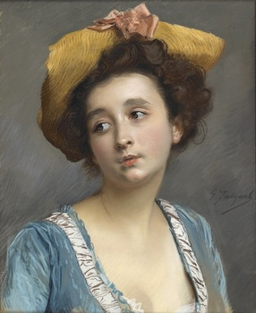 La Belle en Bleu by Gustave Jean Jacquet (French, 1846 - 1909)