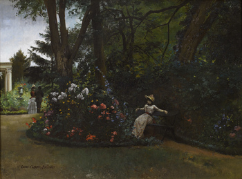 Elegant Figures in a Flower Garden by Louis Robert Carrier-Belleuse (French, 1848 - 1913)