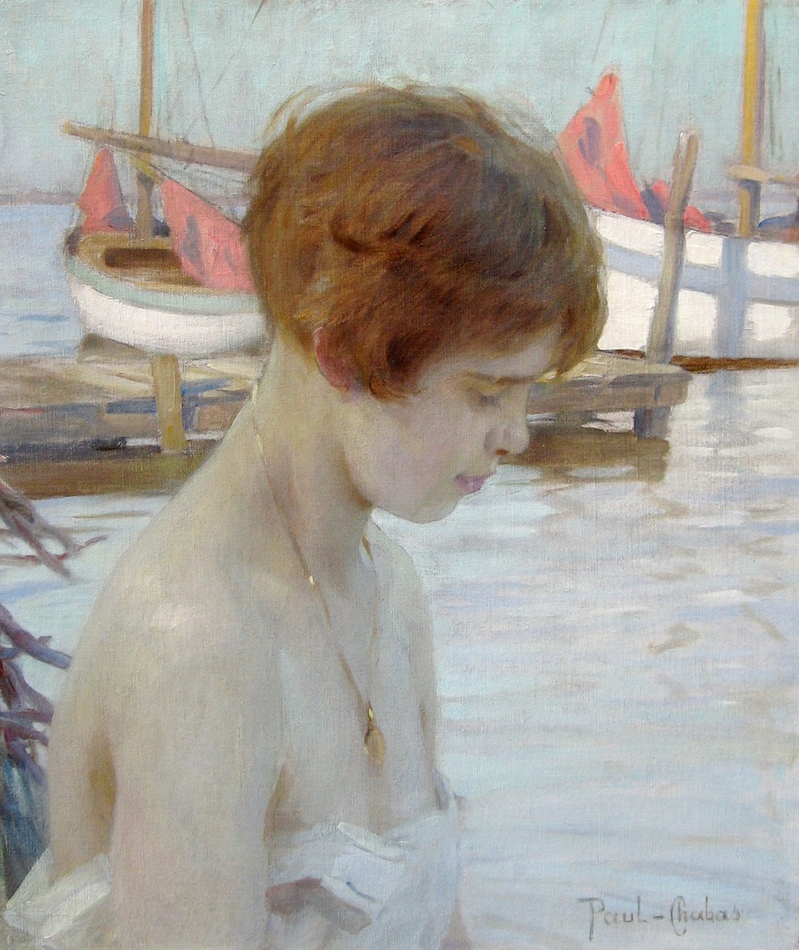 Young girl at the harbor by Paul Emile Chabas (French, 1869 - 1937)