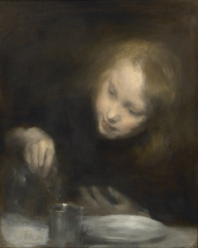 Young girl with a glass pitcher by Armand Berton (French, 1854 - 1927)