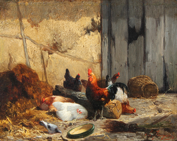Rooster and hens by Charles Jacque (French, 1813 - 1894)