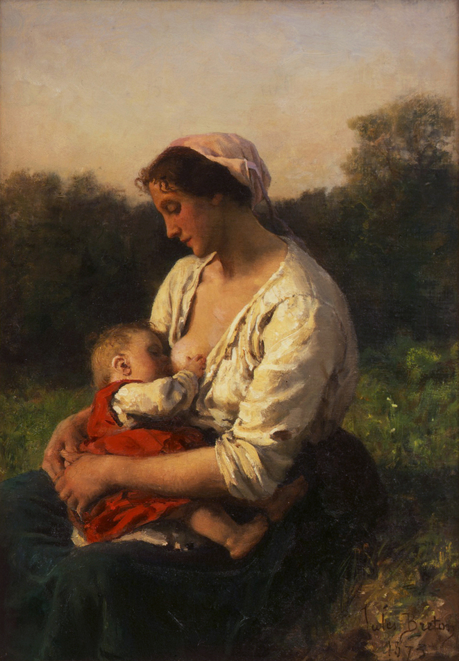 Young Mother nursing her Child, Courrières (Jeune Mère allaitant son enfant, Courrières), 1873 by Jules Breton (French, 1827 - 1906)