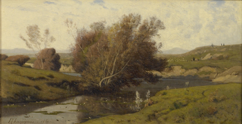 Bords de Rivière, Auvergne, 1860 by Henri-Joseph Harpignies (French, 1819 - 1916)