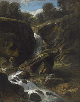 Landscape in the Jura with a Waterfall, 1856 by Gustave Courbet (French, 1819 - 1877)