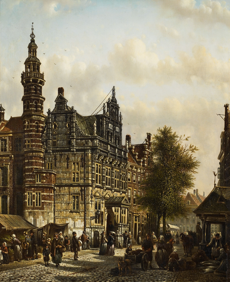 Town Hall, the Hague by Johannes Franciscus Spohler (Dutch, 1853 - 1894)