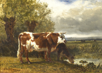 Cows Watering by Constant Troyon (French, 1810 - 1865)