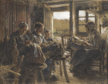 The Lacemakers of the Vosges, 1888 by Léon Augustin Lhermitte (French, 1844 - 1925)