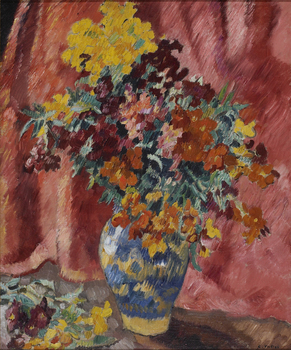 Vase de fleurs à la tenture rose, Circa 1935 by Louis Valtat (French, 1869 - 1952)