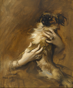 Woman holding a Pekingese Dog by Tadeusz Styka (French/Polish, 1889 - 1954)