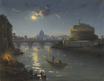 View of the Castel Sant'Angelo with Saint Peter's in the distance by Henryk Cieszkowski (Polish, 1835 - 1895)