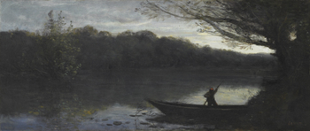 Batelier abordant à la Rive, Le Soir (Boatman approaching the shore, Evening) by Jean-Baptiste-Camille Corot (French, 1796 - 1875)