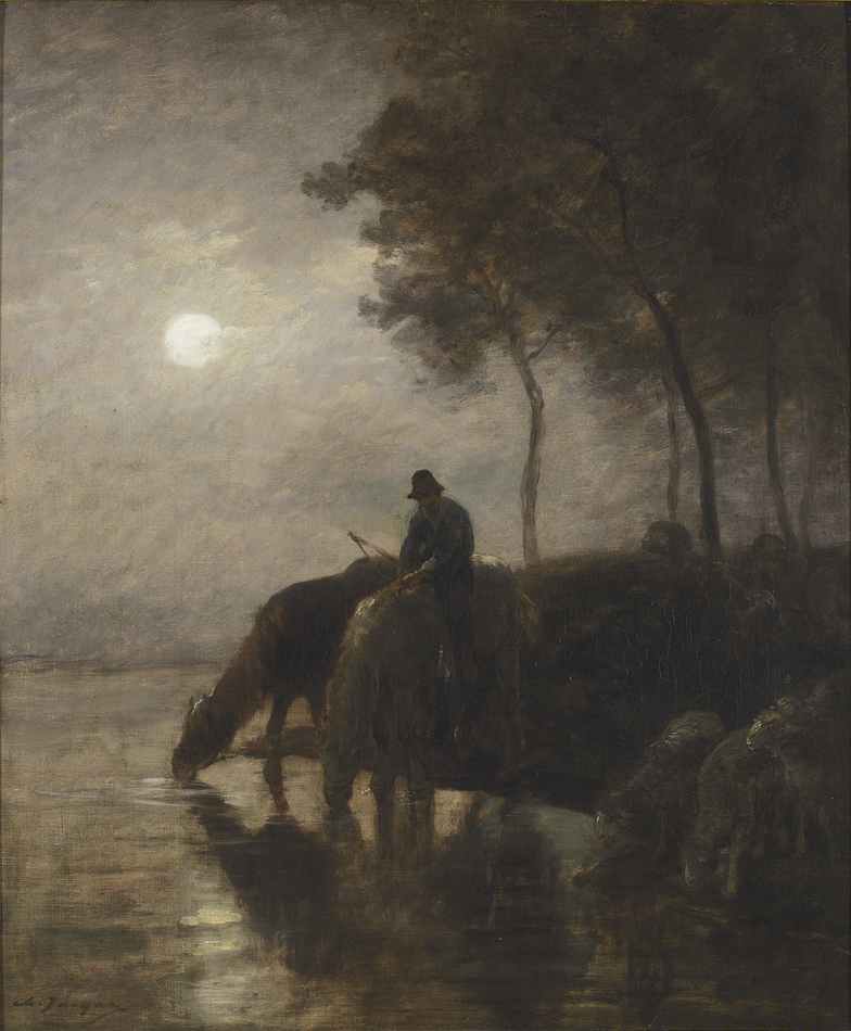 Chevaux et moutons s'abreuvant au clair de lune (Horses and sheep watering in the moonlight) by Charles Jacque (French, 1813 - 1894)