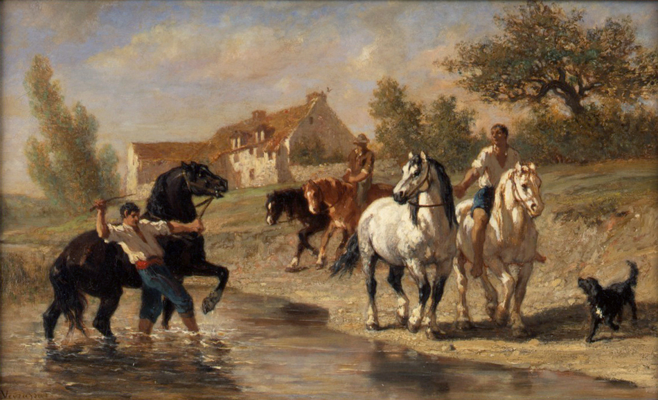 Watering the Horses by Jules Jacques Veyrassat (French, 1828 - 1893)