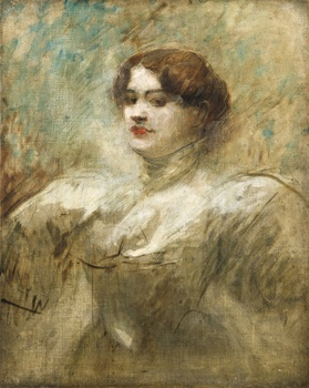 Portrait of a Woman (probably Mlle. Lender) by Jean Louis Forain (French, 1852 - 1911)
