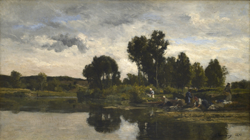 Les Lavandières au bords d'un ruisseau (Laundresses on the banks of a stream), 1870 by Karl Pierre Daubigny (French, 1846 - 1886)