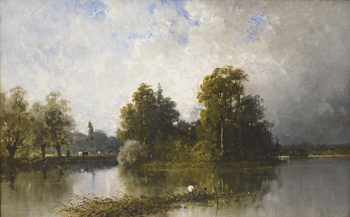 Fishing in the Pond by Eugène Cicéri (French, 1813 - 1890)