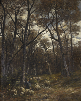 Shepherd and flock in a moonlit forest by Charles Jacque (French, 1813 - 1894)