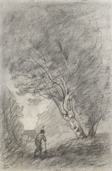 Paysage (recto) / Etude Paysage (verso) (double sided drawing) by Jean-Baptiste-Camille Corot (French, 1796 - 1875)