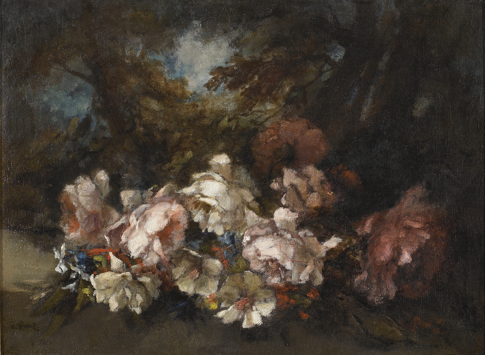 Flowers in a woodland glade by Narcisse Virgile Diaz de la Pena (French, 1807 - 1876)