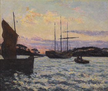 Soleil couchant, En rade de Loctudy (Finistere), Bretagne, 1898 by Maxime Maufra (French, 1861 - 1918)