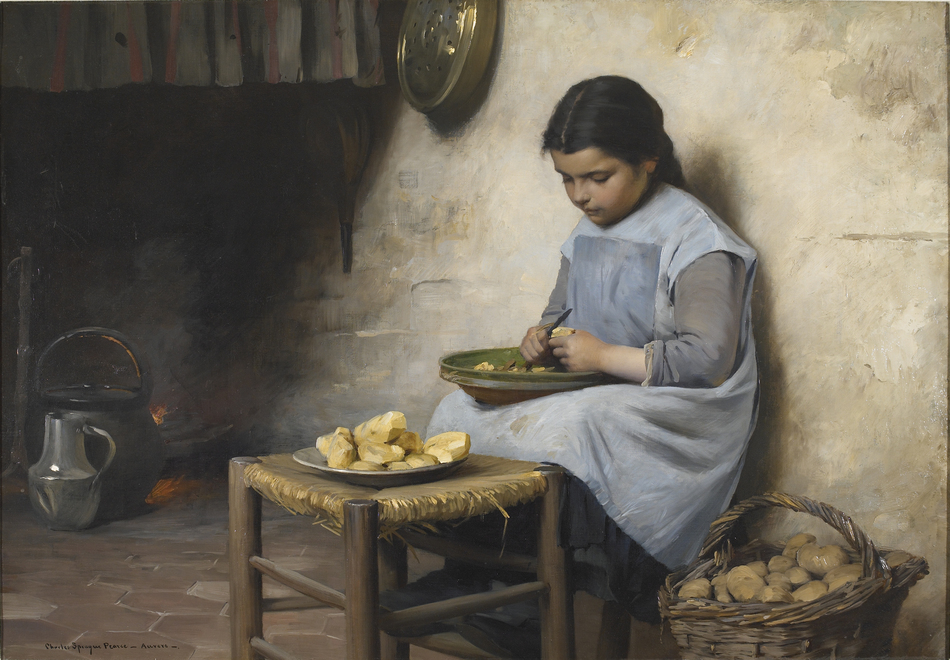 Peeling Potatoes, c. 1885 by Charles Sprague Pearce (American, 1851 - 1914)