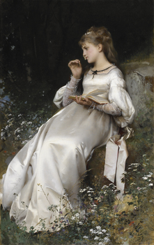 Jeune fille lisant une letter, 1877 by Léon Jean Basile Perrault (French, 1832 - 1908)
